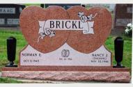 Picture of 2 Grave Monument for Norman and Nancy Brickl, designed by the Krause Monument Company, located in the Old Saint Lukes Catholic Cemetery in Plain, Wisconsin.