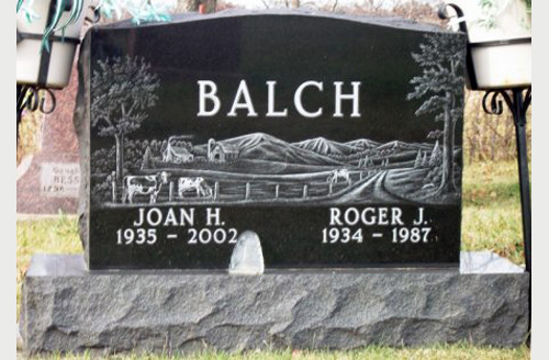 Etched 2 Grave Monument For Balch Family