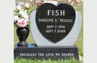 Picture of Single Grave Monument for Darlene E. Pezall Fish designed by the Krause Monument Company, located in the Calvary Cemetery in Reedsburg, Wisconsin.