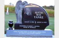 Picture of Single Grave Monumen for Alicia Mae Yanke, designed by the Krause Monument Company, located in the Lutheran Stone Church Cemetery in Rock Springs, Wisconsin.